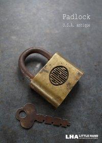 USA antique アメリカアンティーク CORBIN 刻印入り パドロック 鍵付き 南京錠 ヴィンテージ 1940-60's