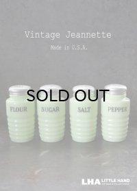【RARE】U.S.A. vintage 【Jeannette】アメリカヴィンテージ ジャネット ライトジェード・シェイカー 4個SET FLOUR SUGAR SALT PEPPER 1930-40's
